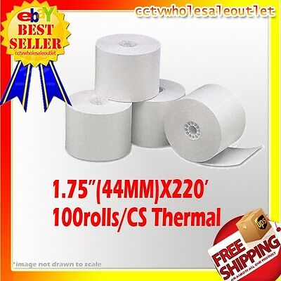 "44mm (1-3/4"") x 220' THERMAL CASH REGISTER PAPER -1 CASE(100 NEW ROLLS) *FREE SH"