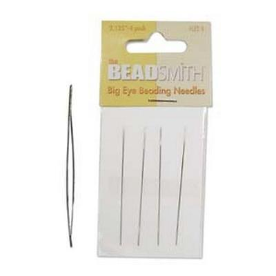 "Four 2.125"" Big Eye Beading Needles"