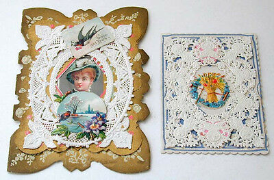 Two Victorian Romantic Cards Paper Doilies Die Cuts