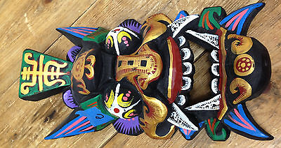 Vintage Mask Hand Carved #E Colorful Chinese Black Bright Decor RC8162 Help ?