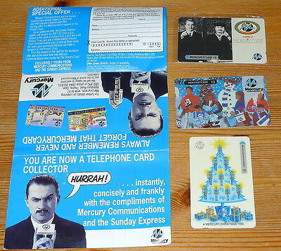 Three Vintage Mercurycards. Christmas 1990, Harry Enfield Princes Trust, Snowman