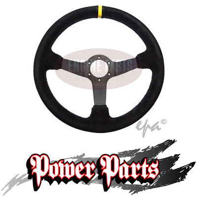 350Mm Deep Dish Sports Racing Drift Rally Car Suede Steering Wheel Inc Horn New