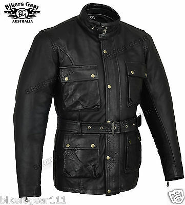New Trail Master Cafe Racer Long Leather Vintage  LEATHER Motorcycle Jacket  4XL