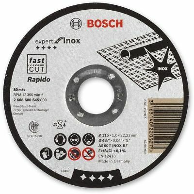 "Bosch 115mm (4.5"") x 22.23 x 1mm Thin Metal Inox Fast Cutting Disc - QTY 5 DISCS"