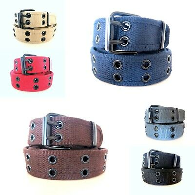 KIDS Stitched Canvas Fabric 2 Holes Row Grommets BOYS GIRLS CHILDRENS BELT