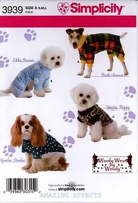 Simplicity Sewing Pattern 3939 Dog Clothes Coats  S M L pet clothing