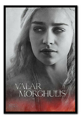 Framed Game Of Thrones Valar Morghulis Daenerys Poster Ready To Hang New