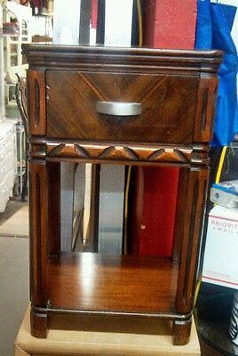 Antique Walnut Mahogany Deco  One Drawer  Nightstand