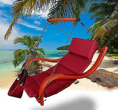New MTN Deluxe Patio Hanging Air Padded Swing Lounger Hammock Chair    Burgundy
