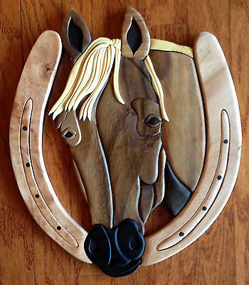 """Wall Art - """"stately Stallion"""" Wooden Wall Sculpture - Horse - Free Shipping*"""