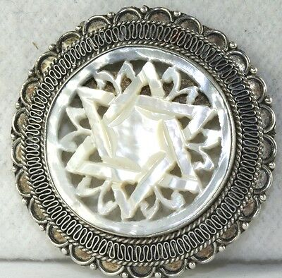 Vintage Israel Sterling Silver  Carved Mop Star Of David Pin Pendant