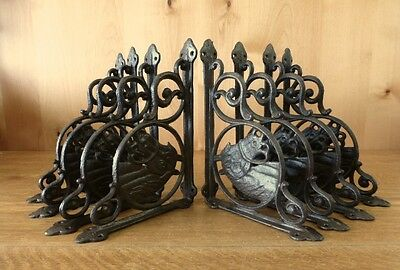 "8 BROWN ANTIQUE-STYLE 9"" HORSE SHELF BRACKETS CAST IRON rustic country western"