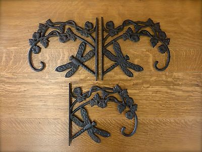 3 BROWN ANTIQUE-STYLE CAST IRON DRAGONFLY WALL HOOKS plant hanger garden outdoor
