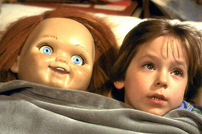 Child'S Play Alex Vincent Stunning 24X36 Poster in bed with doll Chucky