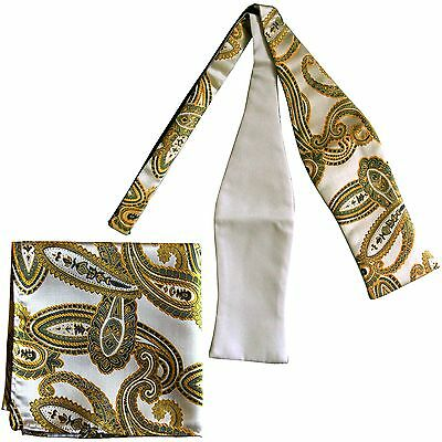 Men's Paisley Self-tied Bow tie and Pocket Square Hankie Beige green yellow