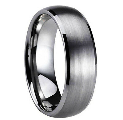 8mm Tungsten Mens Silver Wedding Band Ring All Size Avaiable Never Tarnish M46
