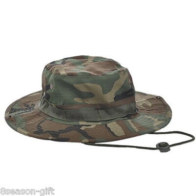 e6477a4a967 MEN WOMEN CAMOUFLAGE CASUALWIDE Brim Bucket Hiking Hunting Boonie ...