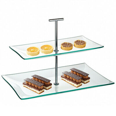Utopia Aura Glass Plate 2 Tier | Cake Display Stand