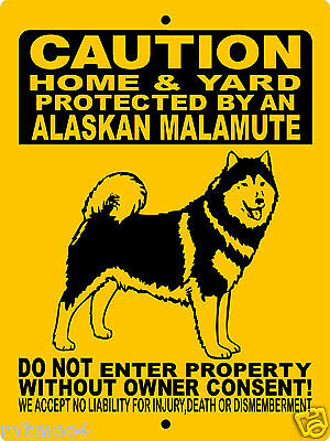 "ALASKAN MALAMUTE DOG SIGN,GUARD DOG,9""x12"" Aluminum,Security Sign,AR15, 2496HYAM"
