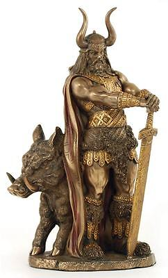 STATUE: NORSE FREYR WITH GOLDEN BOAR 255 mm Wicca Witch Pagan Goth Punk Altar