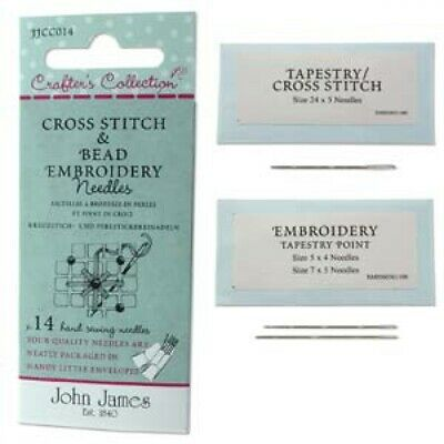 Fourteen Assorted Crafter's Collection Cross Stitch & Bead Embroidery Needles