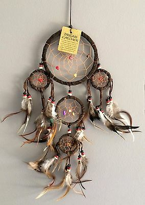 Handmade Native American Indian Dreamcatcher Brown Suede Leather Onyx Amethyst