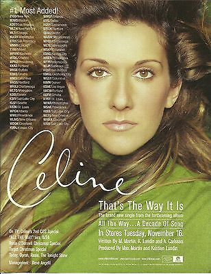 CELINE DION That's the way it is Trade AD POSTER for All the Way Decade CD MINT
