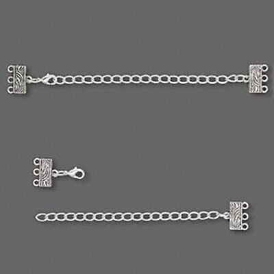 Antique Silver Swirl Bar Clasp 3-Strand Lobsterclaw Connector Set with Extension