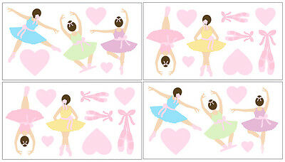 Sweet Jojo Design Pink Ballerina Ballet Bedding Decal Sticker Kid Wall Art Decor