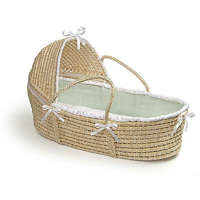 Natural Moses Basket with Sage Waffle Bedding