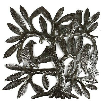Recycled Steel Drum Tree of Life and Three East Birds Wall Art  , Handmade in Ha