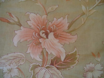 Antique French Floral Cotton Fabric ~ Apricot Sage Sand Beige ~pillows projects