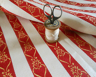 Vintage Provincial Regency French Brocade Stripe Fabric ~Red Yellow Gold