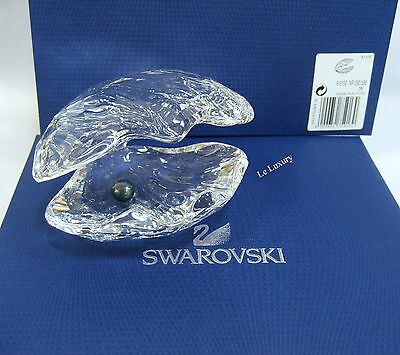 Swarovski Pearl Oyster With Black Pearl, Sea Nature Crystal Figurine - 5075913