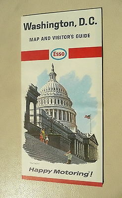 1965 Washington, D.C.  road  map Esso oil gas visitor's guide