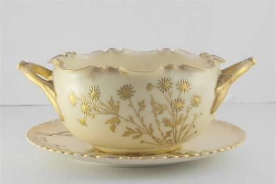 Antique Willets Belleek Floral Dragonfly Enameled Gold Ruffled Bowl Underplate