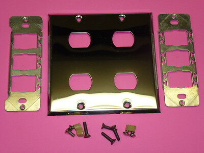 Nos! Bell Interchange 2-Gang Chrome Finish Wall Plate, Horizontal, 4-Hole
