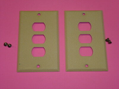 Nos! (2) Bell Interchange 1-Gang Ivory Crackle Wall Plate, Horizontal, 3-Hole