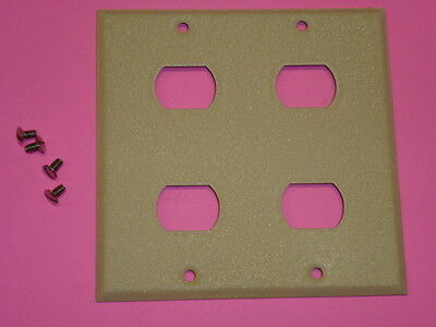 Nos! Bell Interchange 2-Gang Ivory Crackle Wall Plate, Horizontal 4-Hole 18-2-Ic