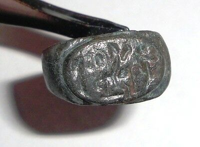 Ancient Roman Empire, 1st - 3rd c. AD. Bronze Intaglio Ring, Horse with Rider
