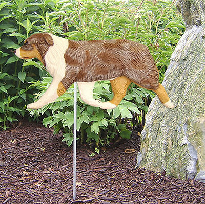 Australian Shepherd Outdoor Garden Dog Sign Hand Painted Figure Red Merle