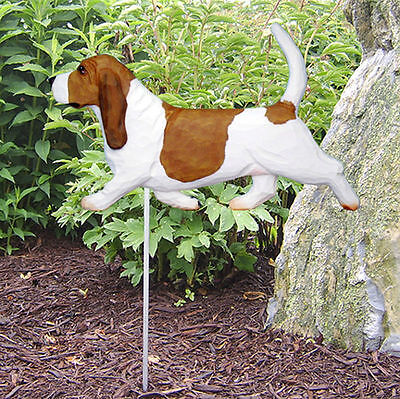 Basset Hound Outdoor Garden Dog Sign Hand Painted Figure Red/White