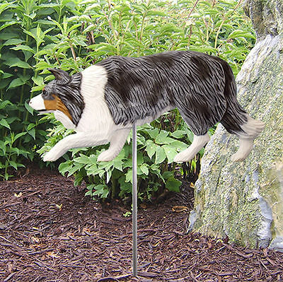 Border Collie Outdoor Garden Dog Sign Hand Painted Figure Blue Merle