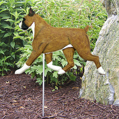 Boxer Outdoor Garden Dog Sign Hand Painted Figure Fawn