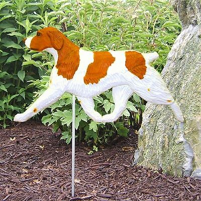 Brittany Spaniel Outdoor Garden Dog Sign Hand Painted Figure Orange