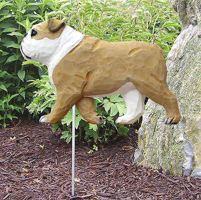 English Bulldog Outdoor Garden Dog Sign Hand Painted Figure Tan