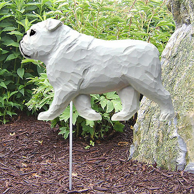 English Bulldog Outdoor Garden Dog Sign Hand Painted Figure White