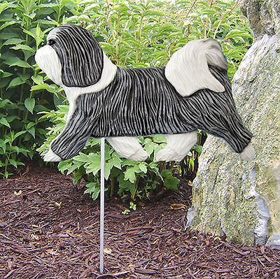Havanese Outdoor Garden Dog Sign Hand Painted Figure Grey/White