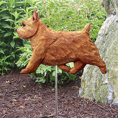 Norwich Terrier Outdoor Garden Dog Sign Hand Painted Figure Red