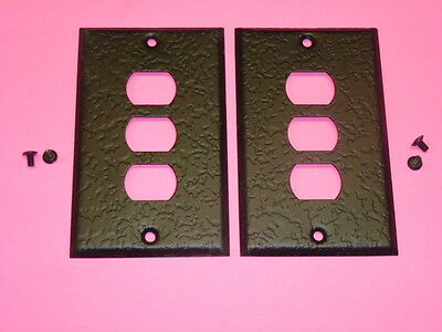 Nos! (2) Bell Interchange 1-Gang Antique Wrought Iron Finish Wall Plate, 3-Hole